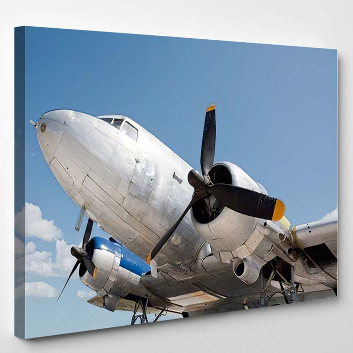Front World War Two Bomber Landscape - Airplane Airport Canvas Wall Decor