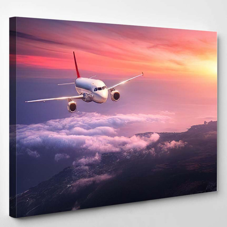 Passenger Airplane Landscape Big White Flying - Airplane Airport Canvas Wall Decor