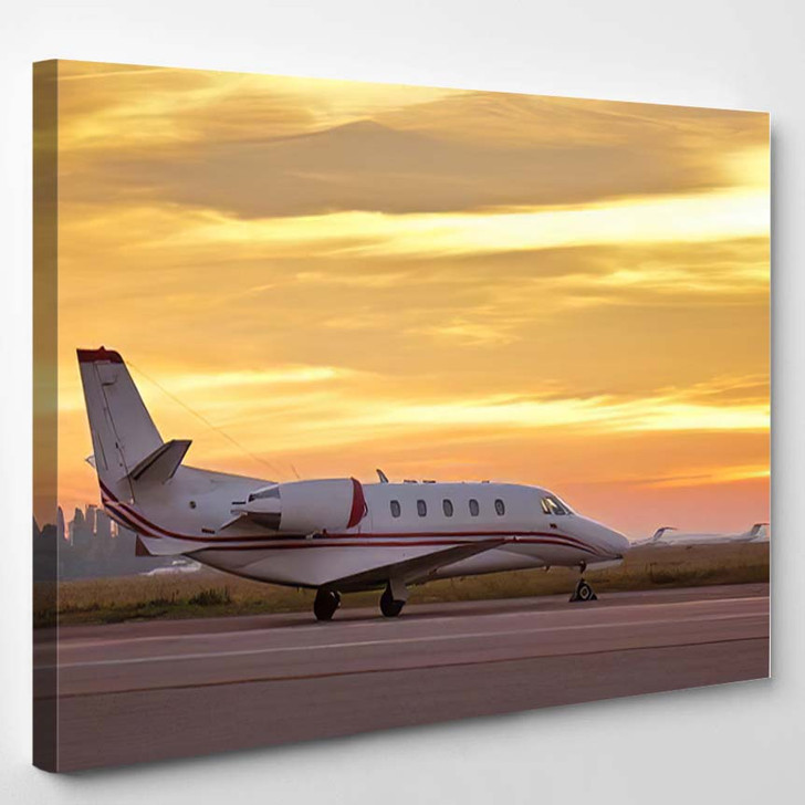 Private Airplane Parked Airport Sunset Jet - Airplane Airport Canvas Wall Decor