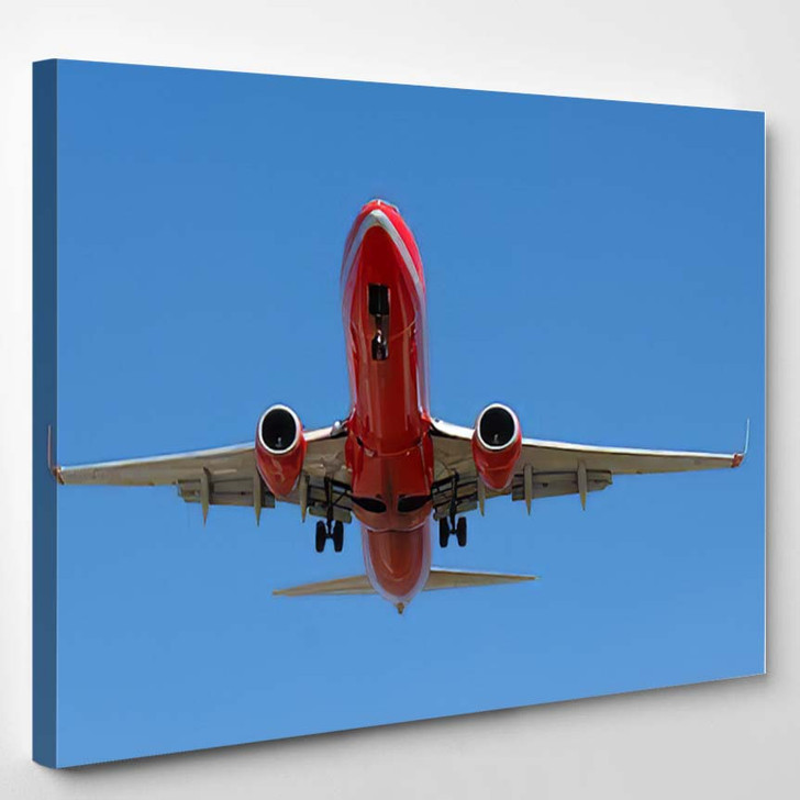 Red Plane Going Land - Airplane Airport Canvas Wall Decor