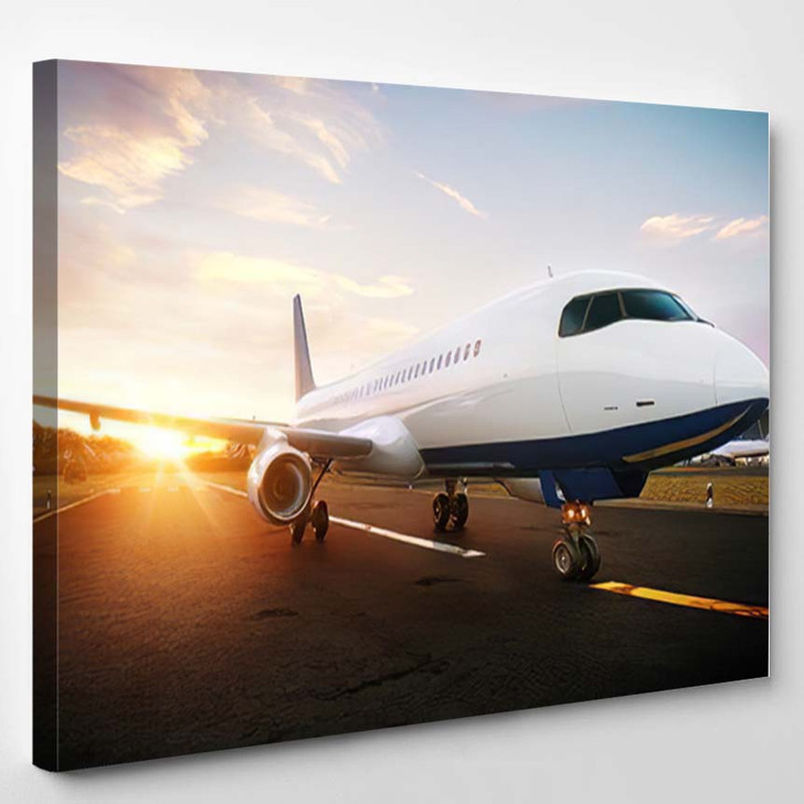 White Commercial Airplane Standing On Airport - Airplane Airport Canvas Wall Decor