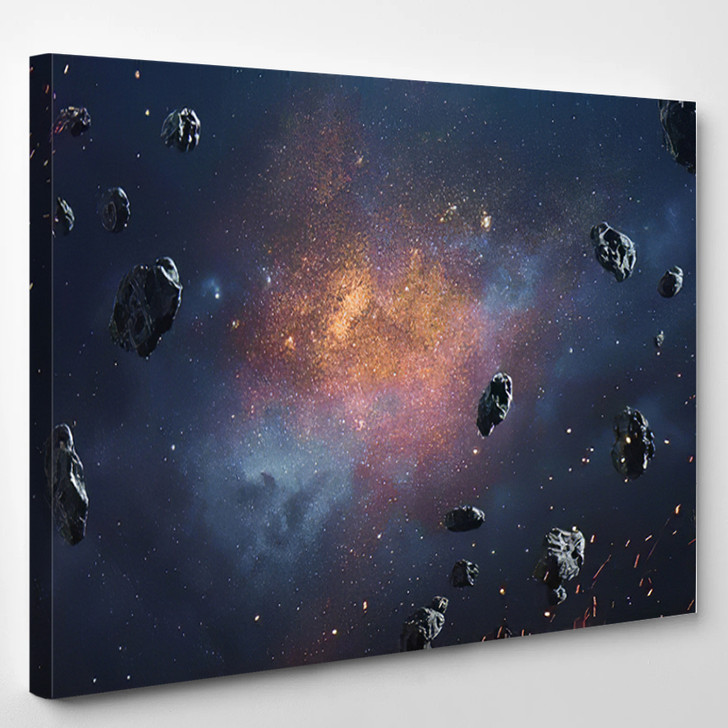 Abstract Cosmic Background Asteroids Glowing Stars - Astronaut Canvas Wall Decor