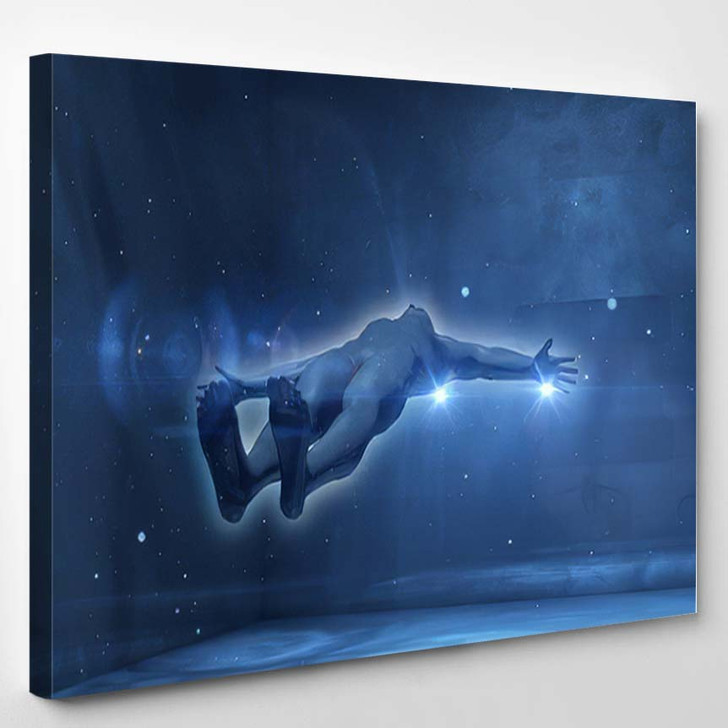 Arty 3D Rendering Flying Horizontally Spaceman - Astronaut Canvas Wall Decor