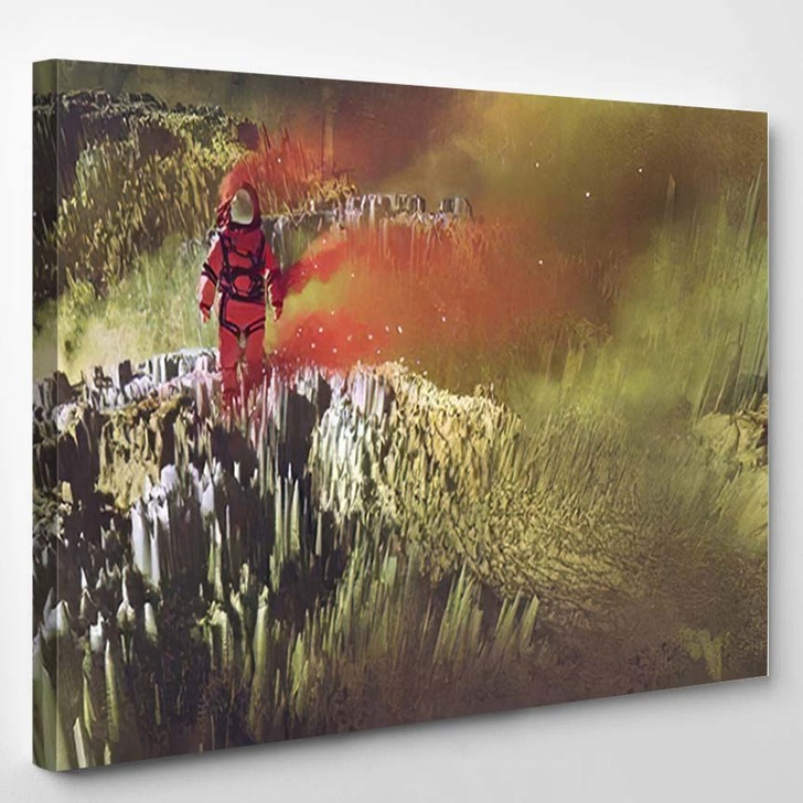 Surreal Scifi Concept Red Astronaut Walking - Astronaut Canvas Wall Decor