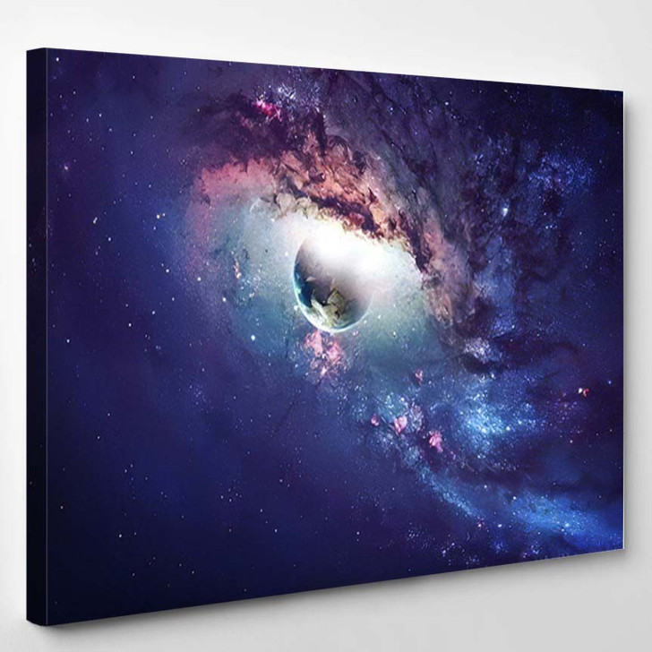 Universe Scene Planets Stars Galaxies Outer 7 - Astronaut Canvas Wall Decor