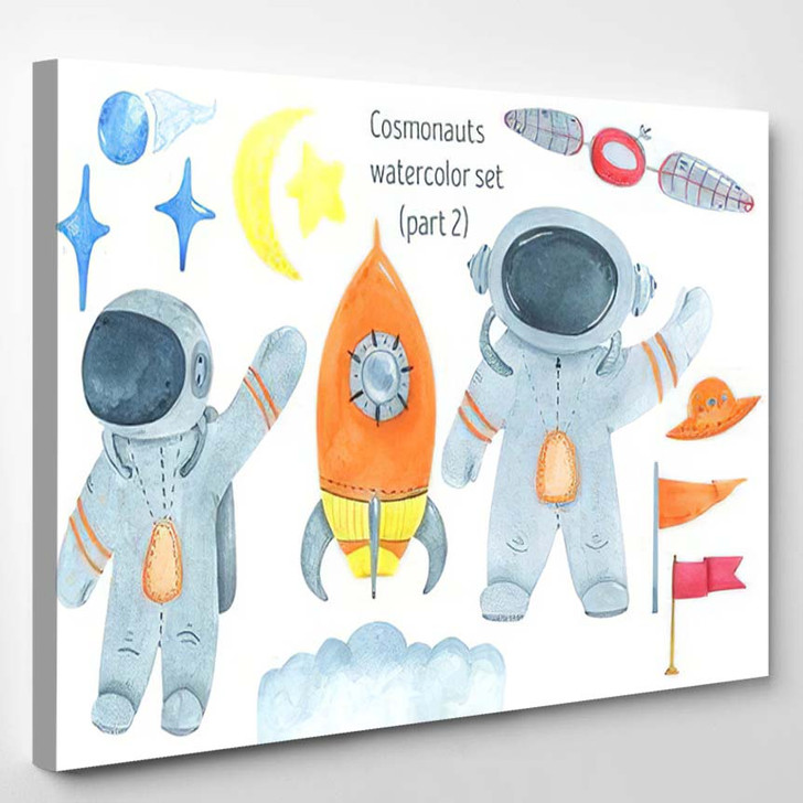 Watercolor Set Cosmonaut Space Objects Stars - Astronaut Canvas Wall Decor