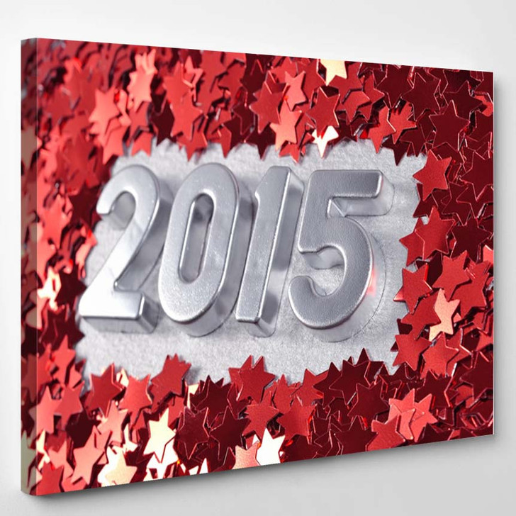 2015 Year Silver Figures Red Stars - Canvas Wall Decor