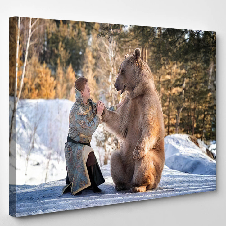 Man Traditional National Costume Russian Prince - Bear Animals Canvas Wall Decor