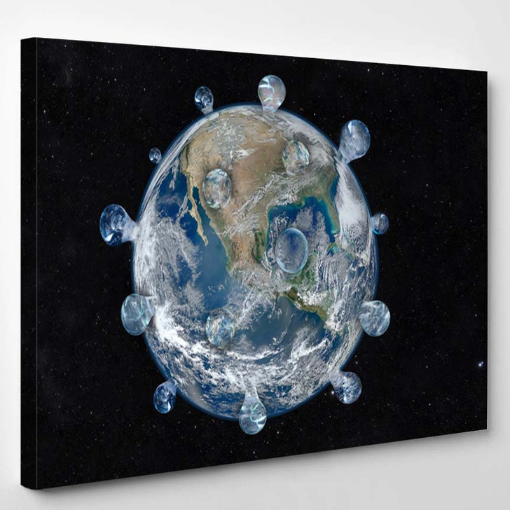 3D Rendered Illustration Asteroid Infront Earth - Canvas Wall Decor
