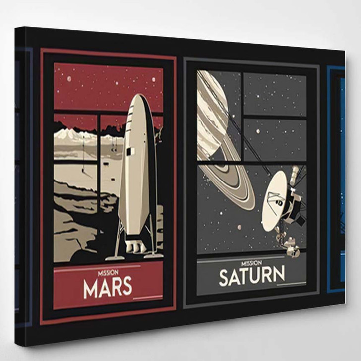Space Missions Set Posters Asteroid Moon - Galaxy Sky and Space Canvas Wall Decor