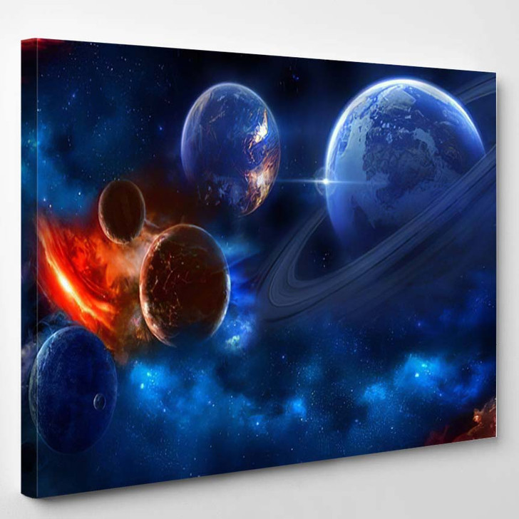 Space Scene Planets Stars Galaxies Height - Galaxy Sky and Space Canvas Wall Decor