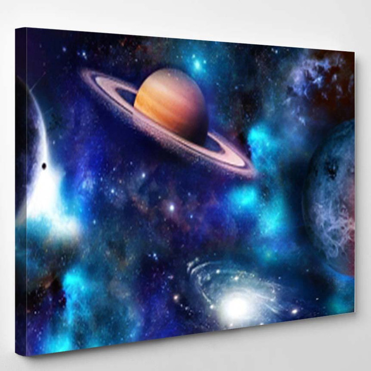 Space Scene Planets Stars Galaxies Panoram A2 - Galaxy Sky and Space Canvas Wall Decor