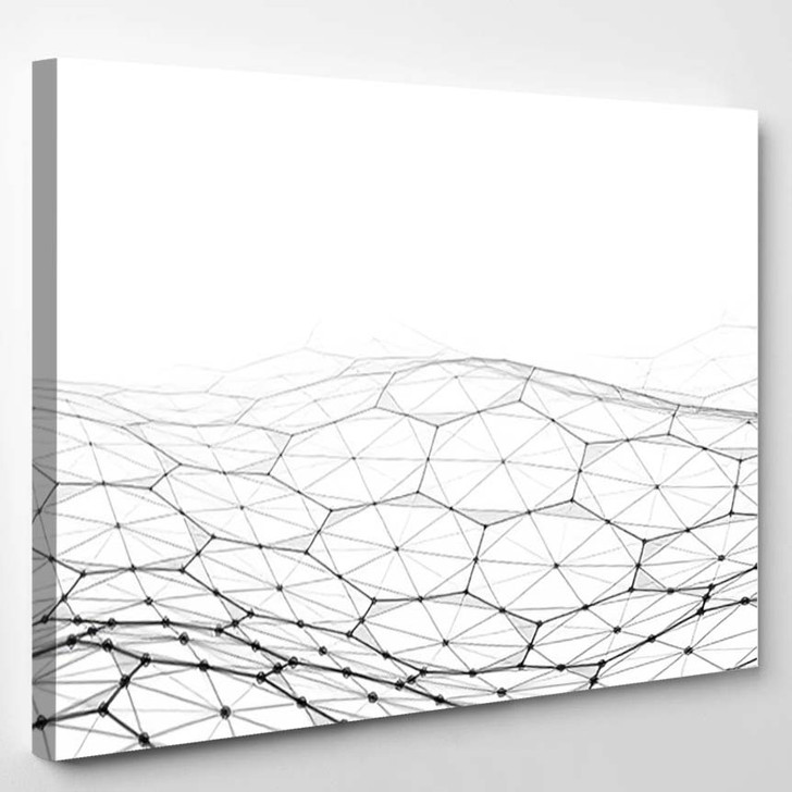 Vector Abstract Futuristic Digital Landscape Particles 2 - Galaxy Sky and Space Canvas Wall Decor