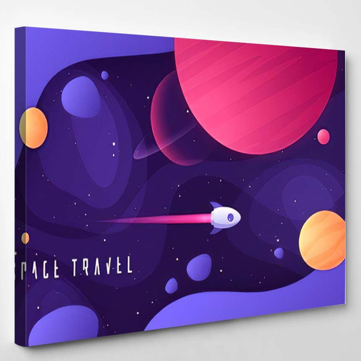 Vector Illustration On Topic Outer Space - Galaxy Sky and Space Canvas Wall Decor
