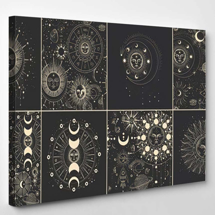 Vector Illustration Set Moon Phases Different 22 - Galaxy Sky and Space Canvas Wall Decor