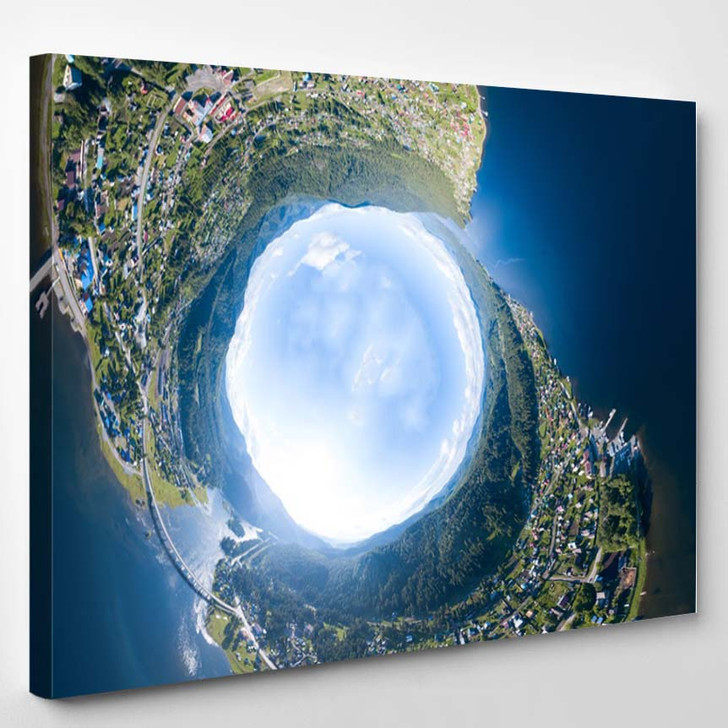 360 Degree Panoramic Aerial Drone View - Canvas Wall Decor