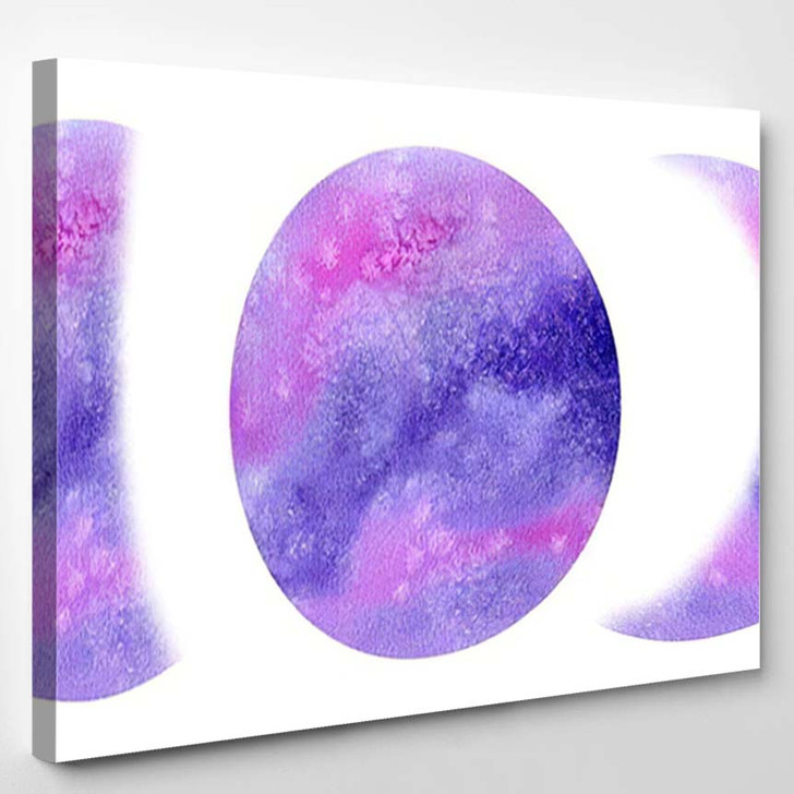 Watercolor Phases Moon Hand Painting Purple - Galaxy Sky and Space Canvas Wall Decor