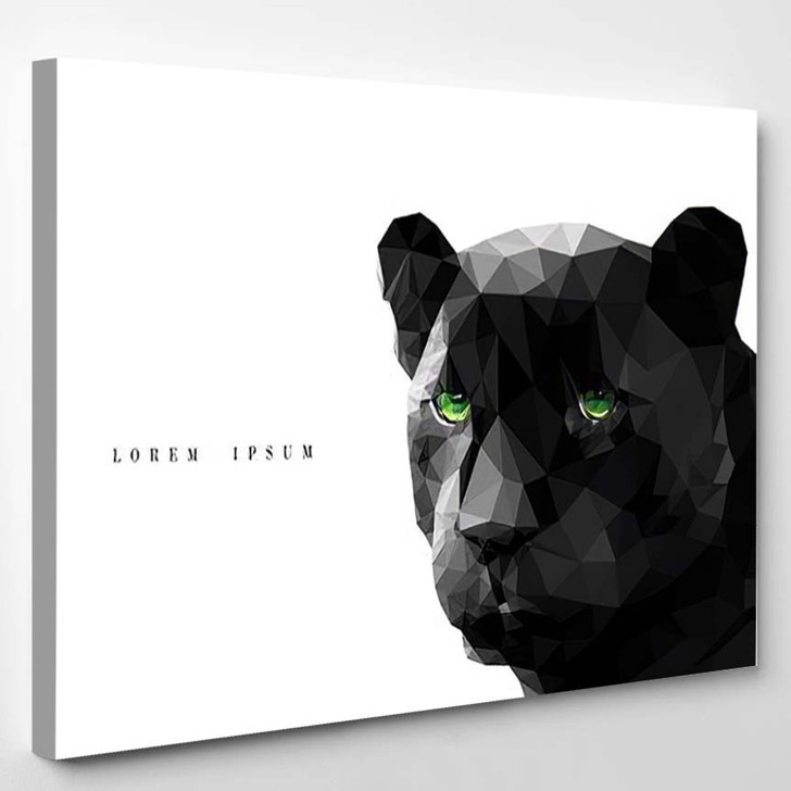 Vector Polygonal Black Panther On White - Black Panther Animals Canvas Wall Decor