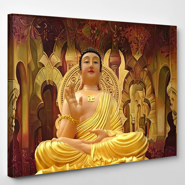 3D Artwork Buddha Giving Blessings Painting - Buddha Religion Canvas Wall Decor
