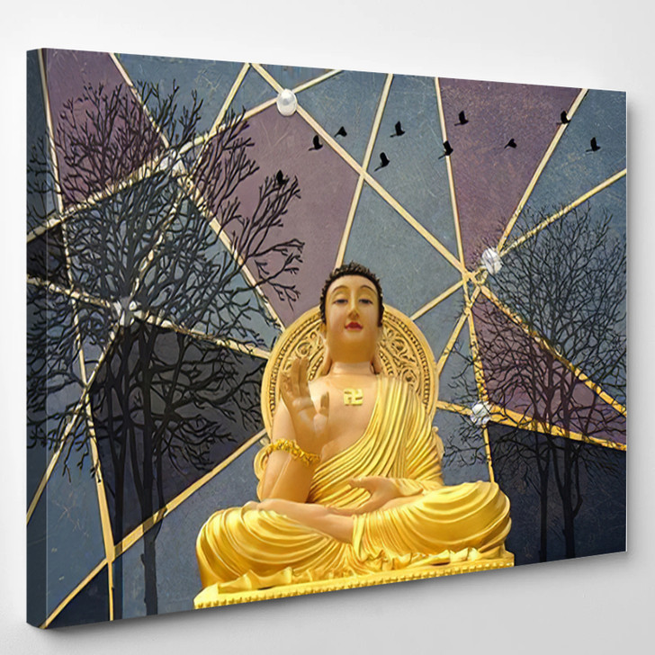 3D Buddha Wallpaper Texture Background Illustration - Buddha Religion Canvas Wall Decor