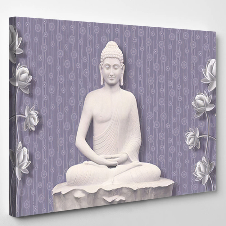 3D Illustration Buddha Meditating Beautiful Flower - Buddha Religion Canvas Wall Decor