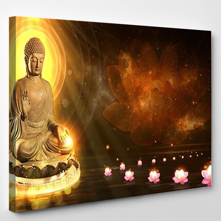 3D Illustration Buddha Sat Lotus Flower - Buddha Religion Canvas Wall Decor