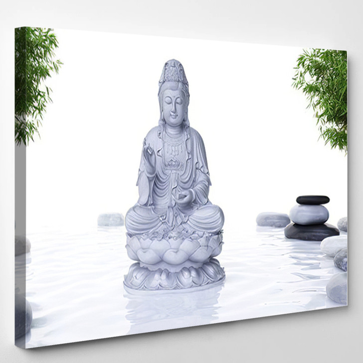 3D Rendered Spa Illustration Buddha Statue - Buddha Religion Canvas Wall Decor