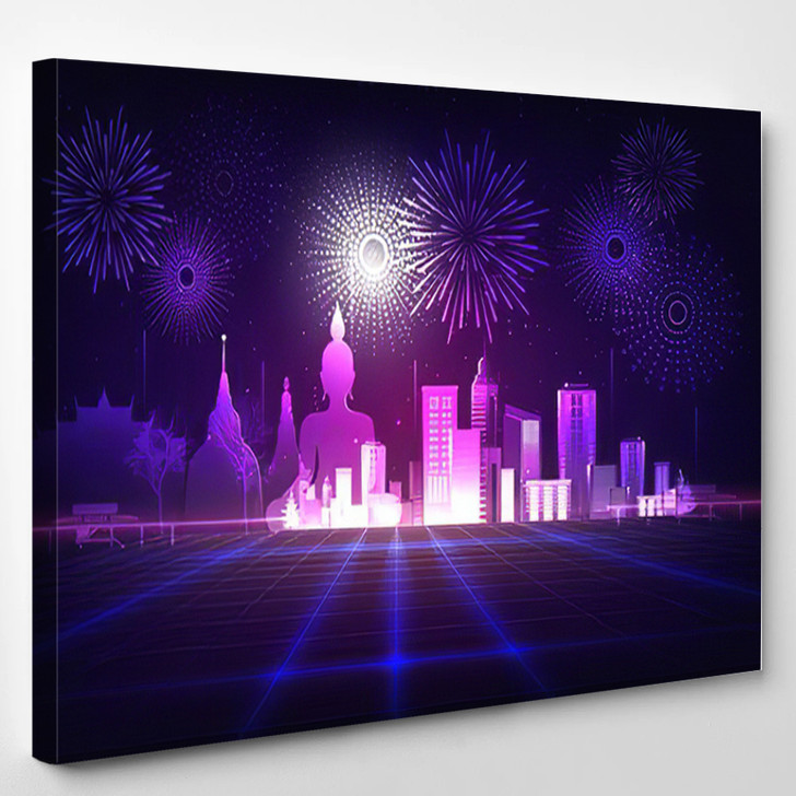Abstract Background Purple Neon Grids City - Buddha Religion Canvas Wall Decor