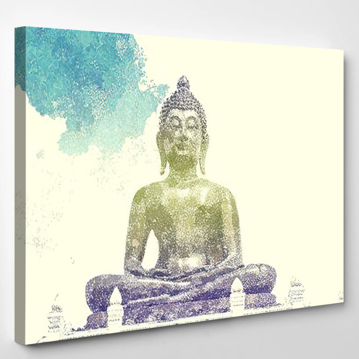 Abstract Watercolor Effect Public Old Ancient - Buddha Religion Canvas Wall Decor