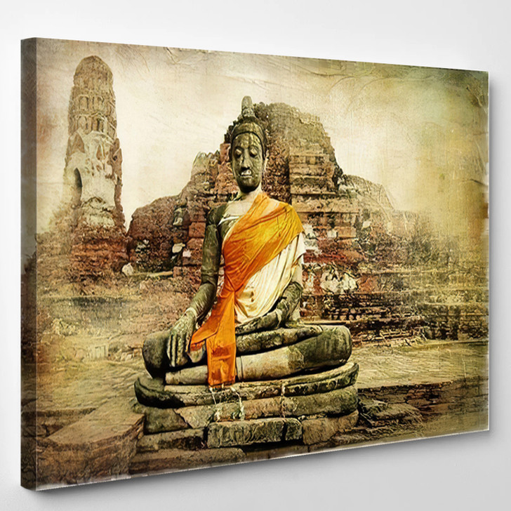 Ancient Cities Thailand Artwork Painting Style - Buddha Religion Canvas Wall Decor