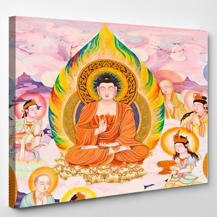 Chinese Style Painting Art On Temple - Buddha Religion Canvas Wall Decor