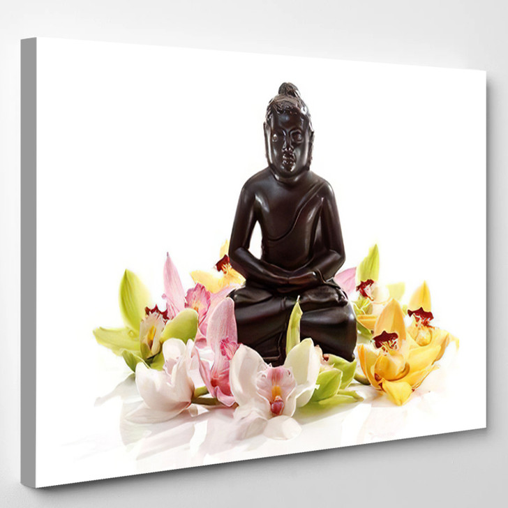 Multicoloured Orchid Blossoms Orchidaceae Front Black - Buddha Religion Canvas Wall Decor