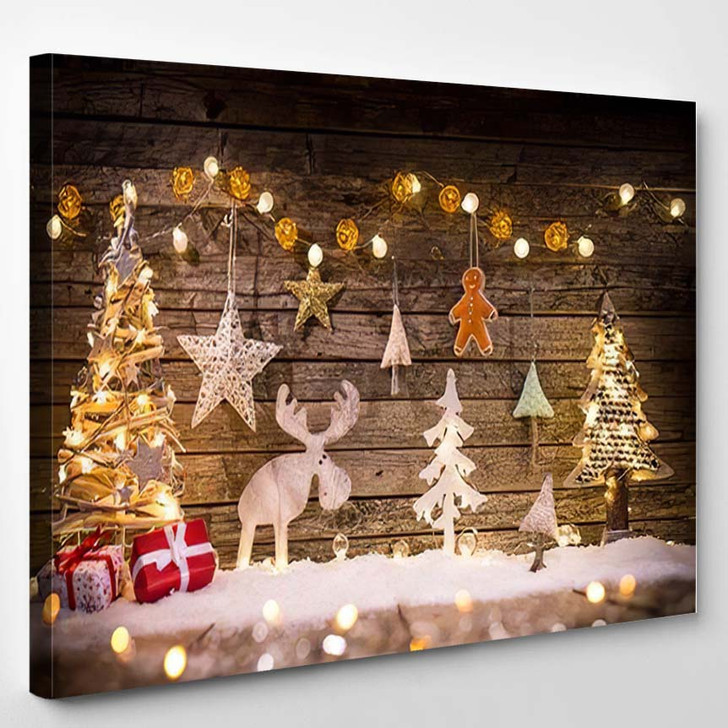 Christmas Decoration On Wooden Background Close 1 - Christmas Canvas Wall Decor
