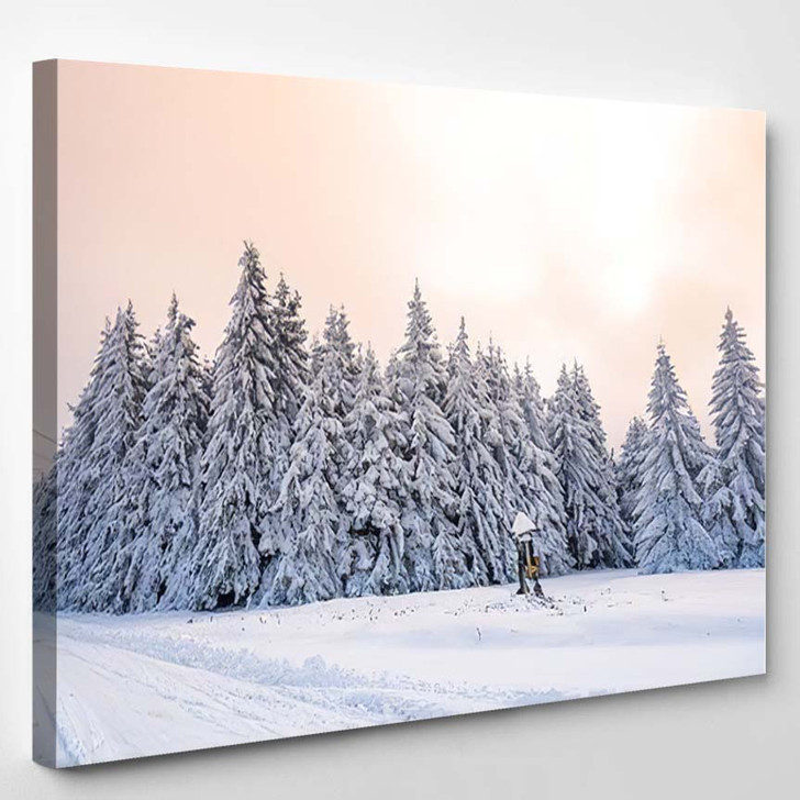Colorful Winter Morning Mountains Sunrise February - Christmas Canvas Wall Decor