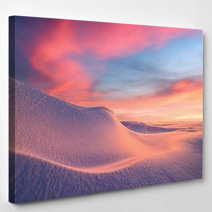 Fantastic Winter Landscape Snowy Mountains Glowing - Christmas Canvas Wall Decor