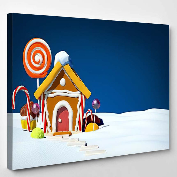 Gingerbread House Candy On Snow Field - Christmas Canvas Wall Decor