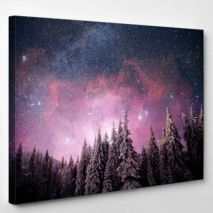 Magical Winter Landscape Snow Covered Tree 2 - Christmas Canvas Wall Decor