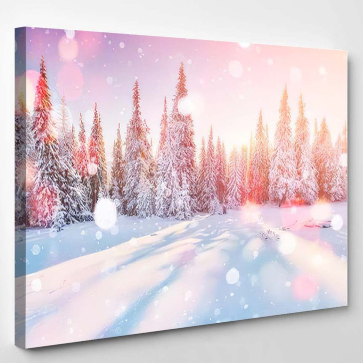 Mysterious Landscape Majestic Mountains Winter Magical 2 - Christmas Canvas Wall Decor