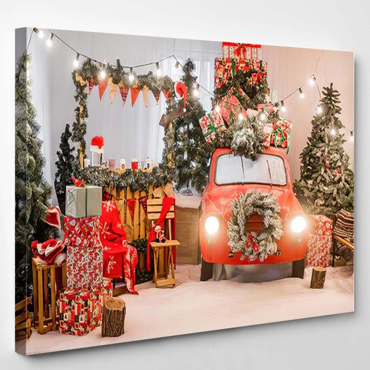 New Years Christmas Magic Red Colors - Christmas Canvas Wall Decor