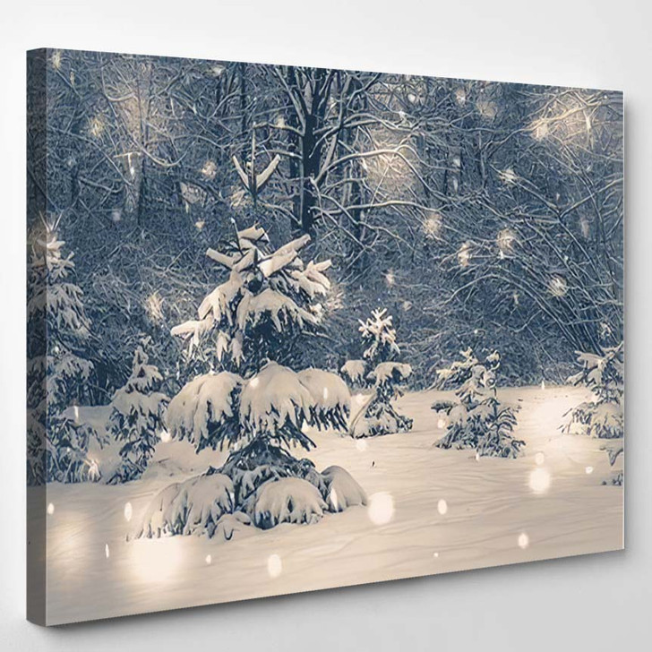 Photo Old Vintage Style Forest Trees - Christmas Canvas Wall Decor