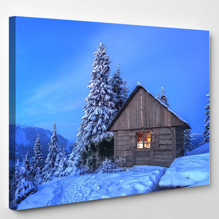 Wooden House Winter Forest 1 - Christmas Canvas Wall Decor
