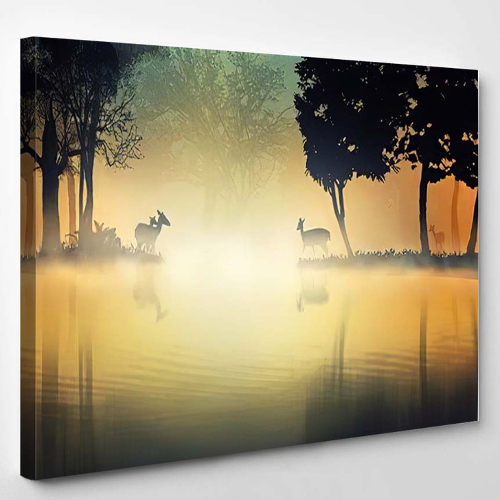 3D Illustration Deers Fantasy Forest Lakeside - Deer Animals Canvas Wall Decor