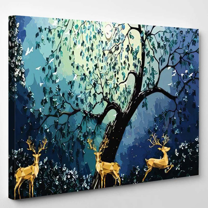 3D Modern Art Mural Wallpaper Dark - Deer Animals Canvas Wall Decor