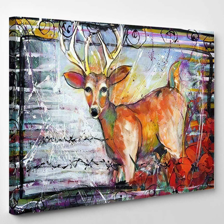 Abstract Funky Deer Painting - Deer Animals Canvas Wall Decor