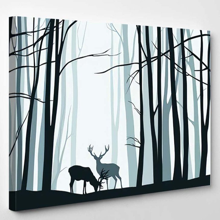 Forest Landscape Blue Silhouettes Trees Deers - Deer Animals Canvas Wall Decor