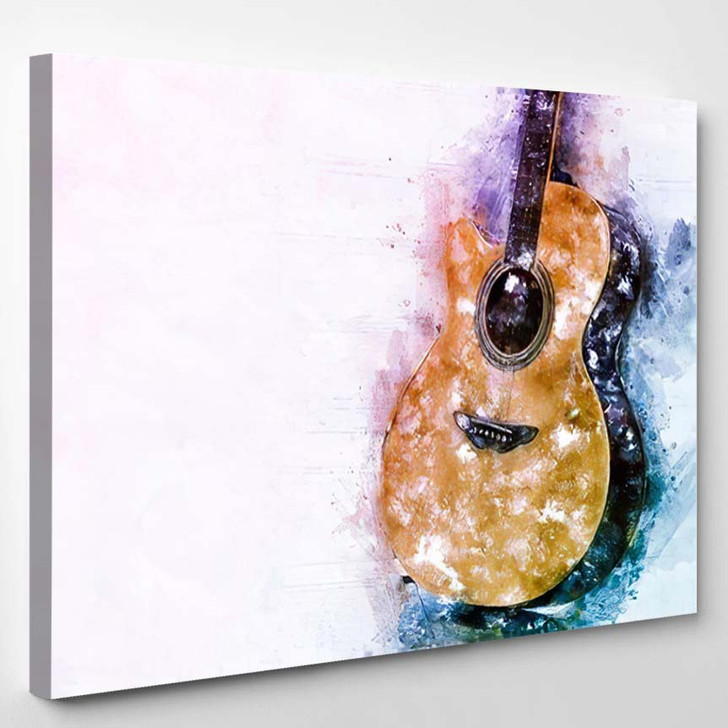 Abstract Beautiful Guitar Acoustic Foreground On - Drum Music Canvas Wall Decor