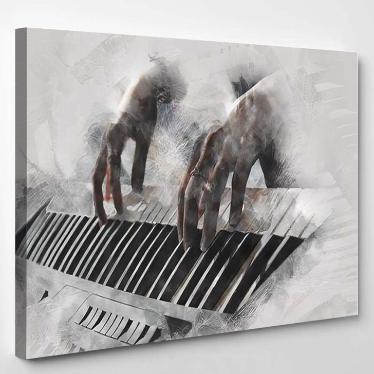 Abstract Beautiful Hand Playing Keyboard Piano - Drum Music Canvas Wall Decor