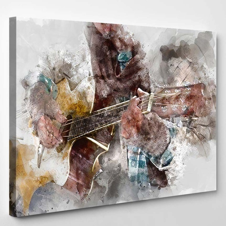Abstract Beautiful Homeless Man Playing Guitar - Drum Music Canvas Wall Decor