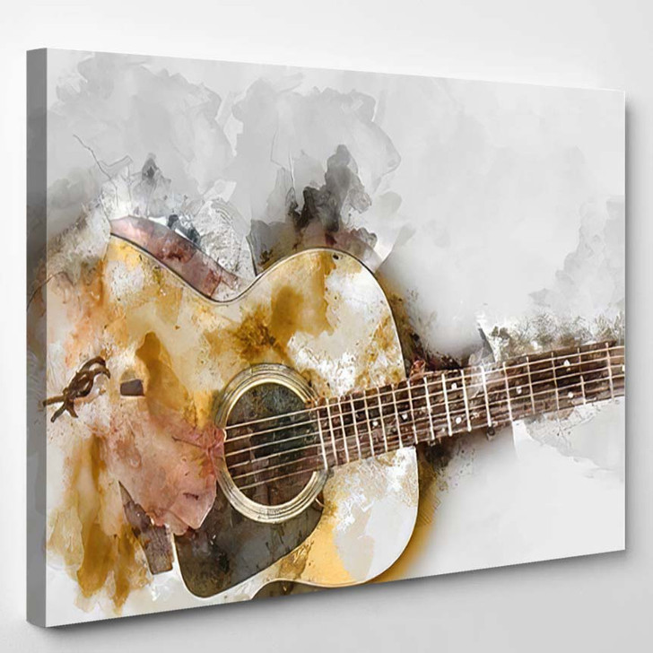 Abstract Beautiful Woman Playing Guitar Foreground - Drum Music Canvas Wall Decor