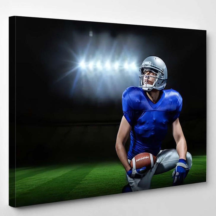 3D American Football Player Ball Kneeling - Football Canvas Wall Decor